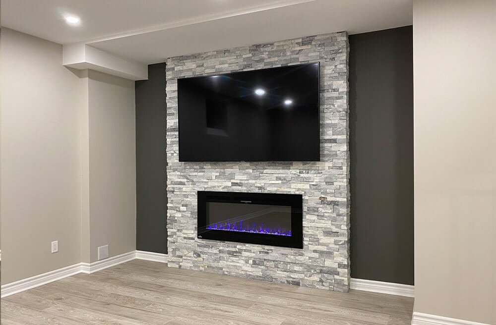 fireplace in basement renovation