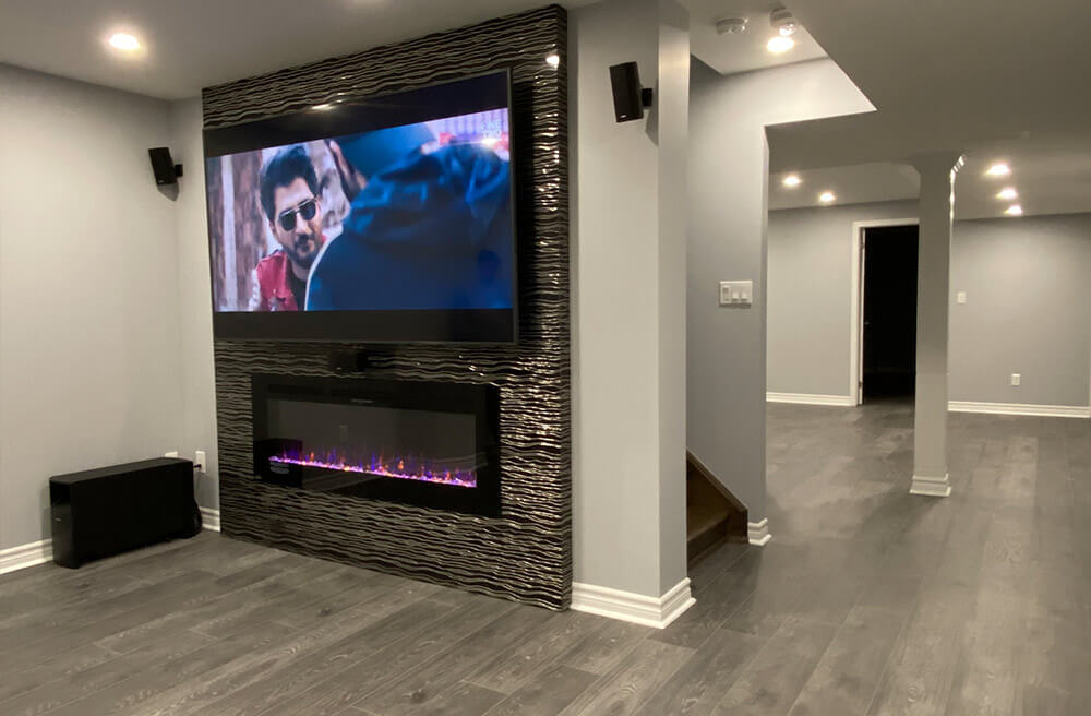 fireplace in finished basement